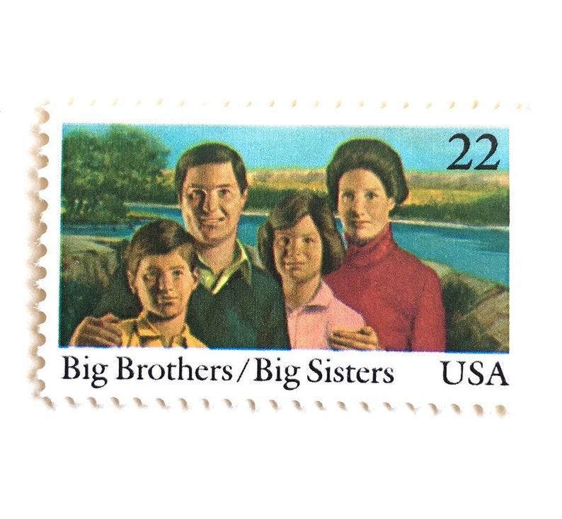 10 Vintage Big Brothers Big Sisters Stamps // 22 Cent Vintage image 0