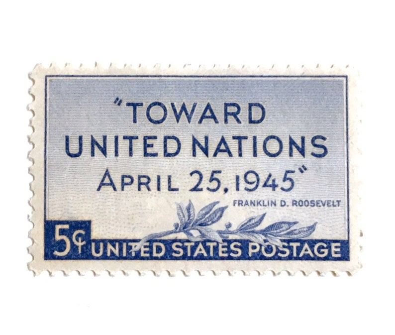 10 Blue Vintage Stamps 1945 Olive Branch Invitation Stamps image 0