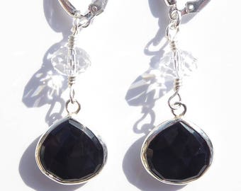 Black Onyx Earrings, Swarovski Crystal Earrings, Gemstone Earrings, Black Gemstone, Sterling Wire-wrapped Earrings