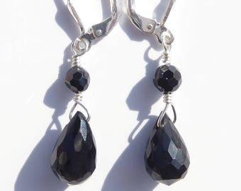 Black Onyx Earrings, Black Spinel Earrings, Gemstone Earrings, Black Gemstone, Sterling Wire-wrapped Earrings