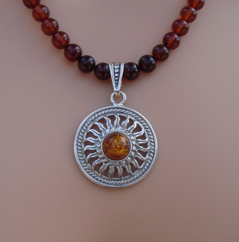 Ombre Baltic Amber Necklace with a Sterling Amber Sun Pendant