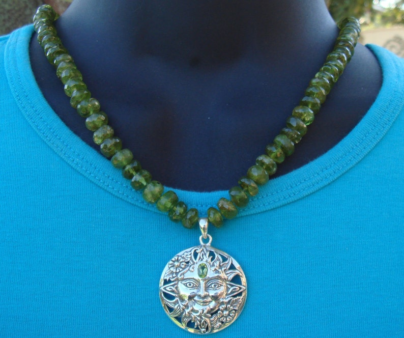 Hand-knotted Peridot Necklace with a Sterling Peridot Sun Pendant