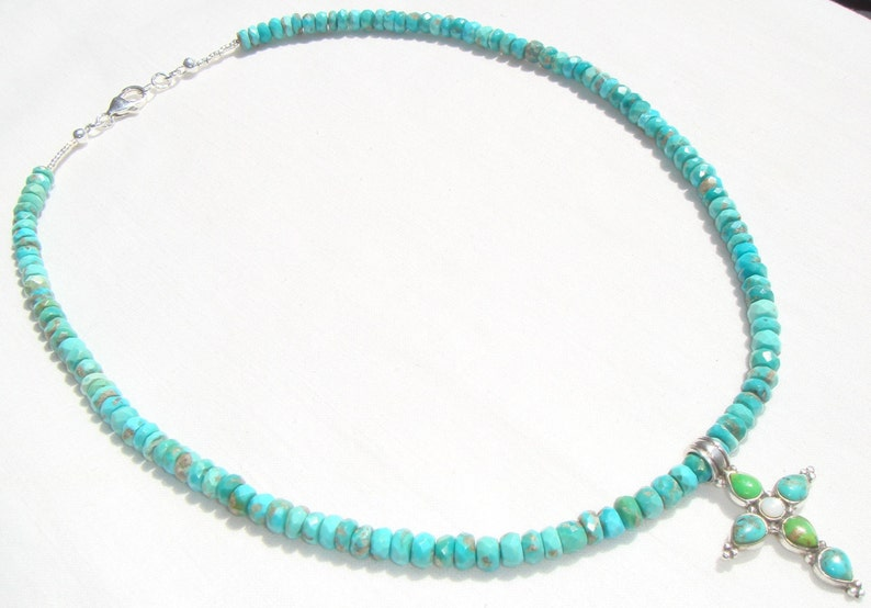 Blue Turquoise Cross Necklace with a Zuni Turquoise Cross Pendant