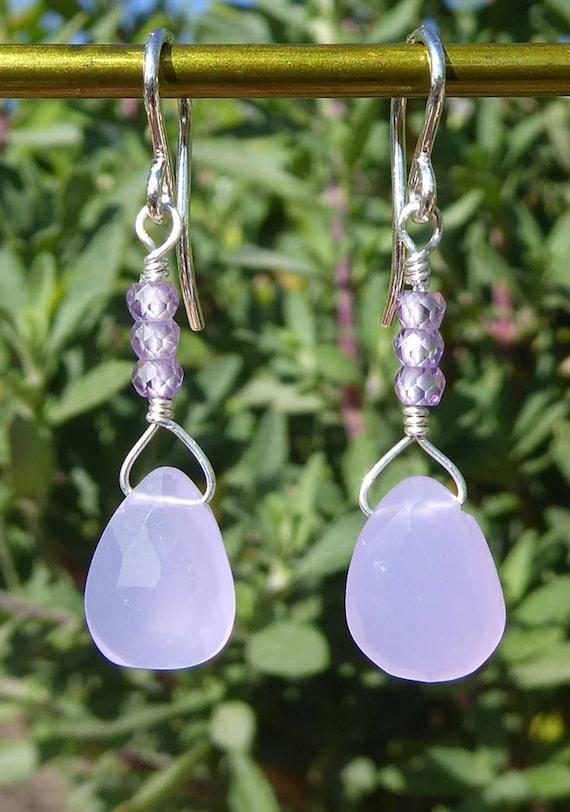 Lavender Chalcedony Earrings  Designer Gold Earrings  Pear Gemstone Earrings  Everyday Jewelry  Gift For Her Ethnic Tribal Earring FE38