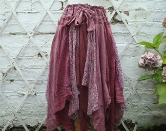 Upcycled Skirt Woman's Clothing Burgundy Burlesque Red Tribal Cotton Lace Layers Pixie Gown Mori Girl