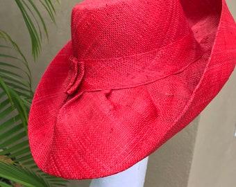 """b504848ac3313 5"""" or 7"""" Brim Bright Red Madagascar Raffia Women s Hat"""