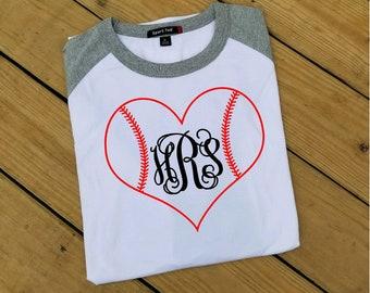 Monogram Baseball Shirt,Baseball Stitches Shirt,Monogram Baseball Heart,Monogram Jersey Tee,Group Discounts,Bridesmaids Shirts,FREE SHIPPING