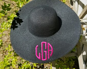 Black Floppy Hat-Black Beach Hat-Monogram Floppy Hat-Black Sun Hat-Floppy  Hat-Group Discount-Bridesmaids Gift-Monogram Sun Hat 12fba365e425