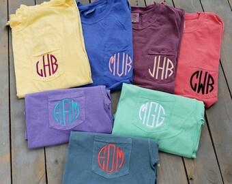 c0785854a7a1c Comfort Color Tee, Monogram Pocket Tee, Comfort Color, Short Sleeve, Bridal  Party Shirts, Bridesmaids Shirts, Monogram Shirt, SHIPPING INCL