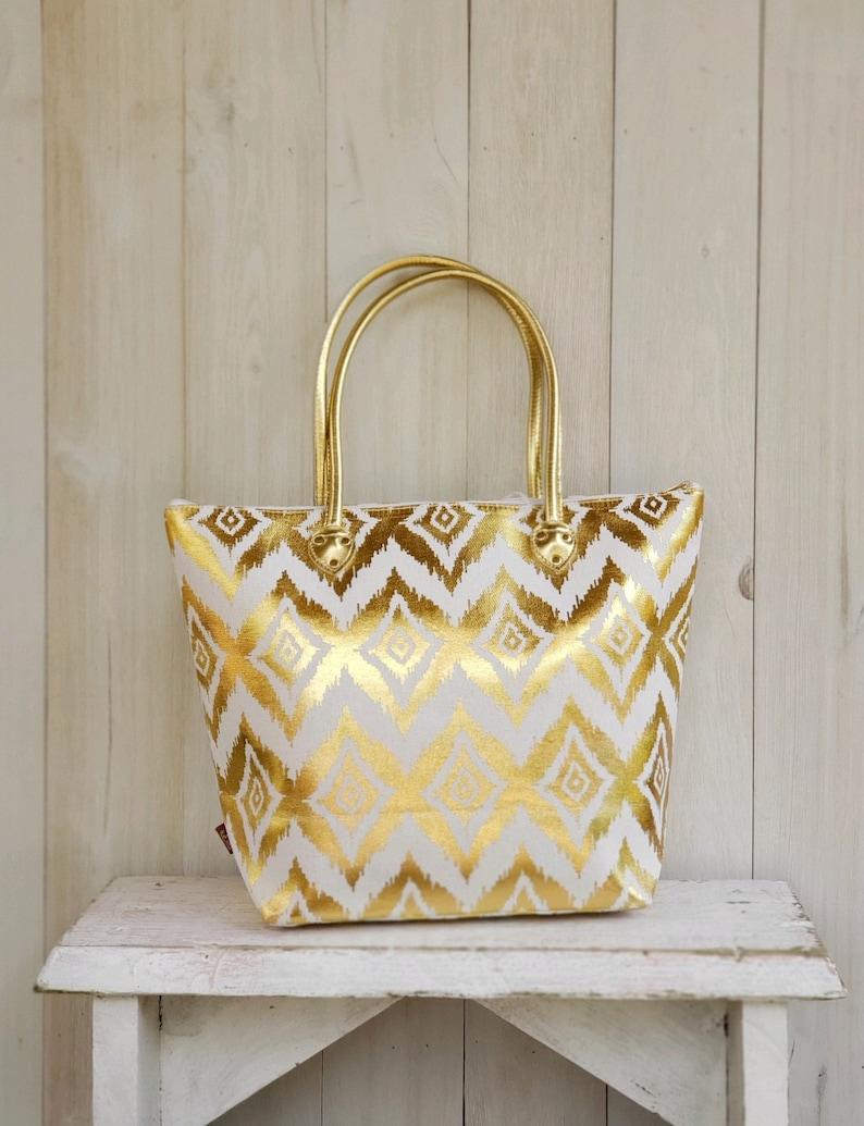 Mother/'s Day Gift Gold Ikat Beach Bag Gold Metallic MONOGRAM-SHIPPING INCL Ikat Print Beach Bag Ikat Metallic Tote Bag