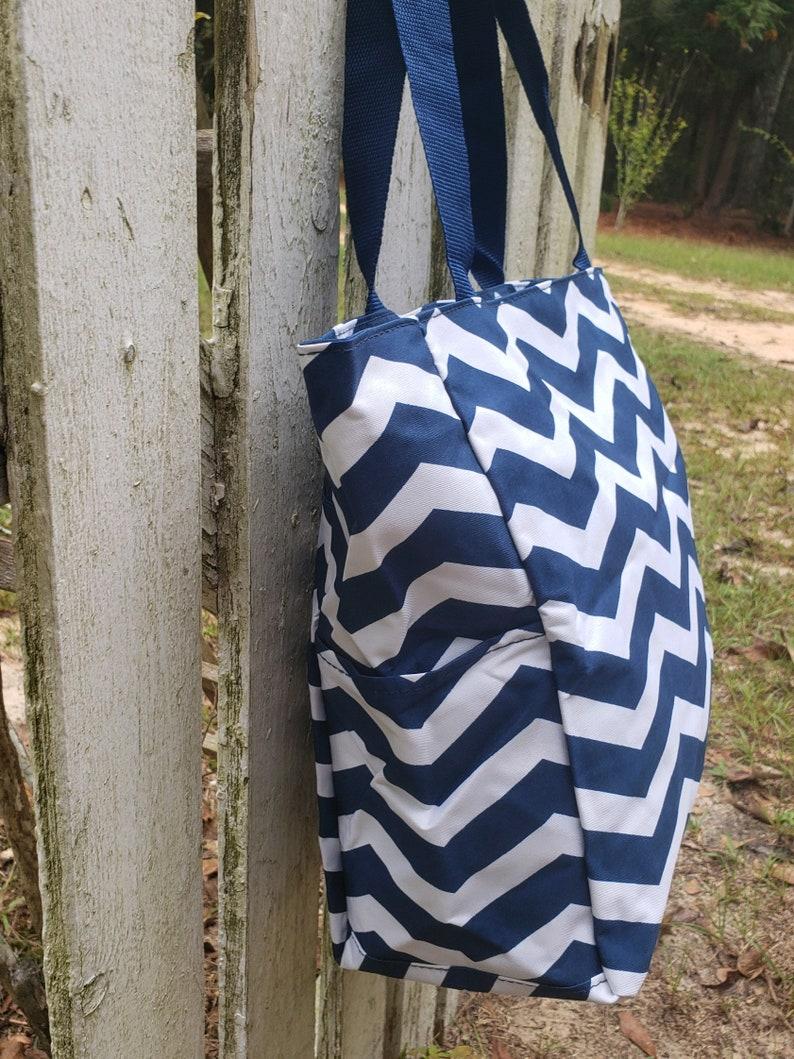 Navy Tote Bag Bridesmaids Gift MONOGRAM /& SHIPPING INCLUDED Navy Dance Bag Navy Chevron Tote Teacher Gift Cheerleader Bag