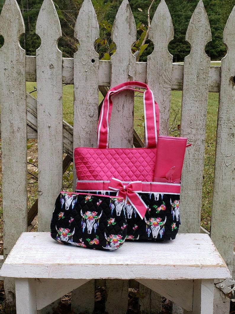 Deer Head Diaper Bag Quilted Diaper Bag Pink Steerhead Bag Steerhead Diaper Bag MONOGRAM-SHIPPING INCLUDED Hospital Diaper Bag