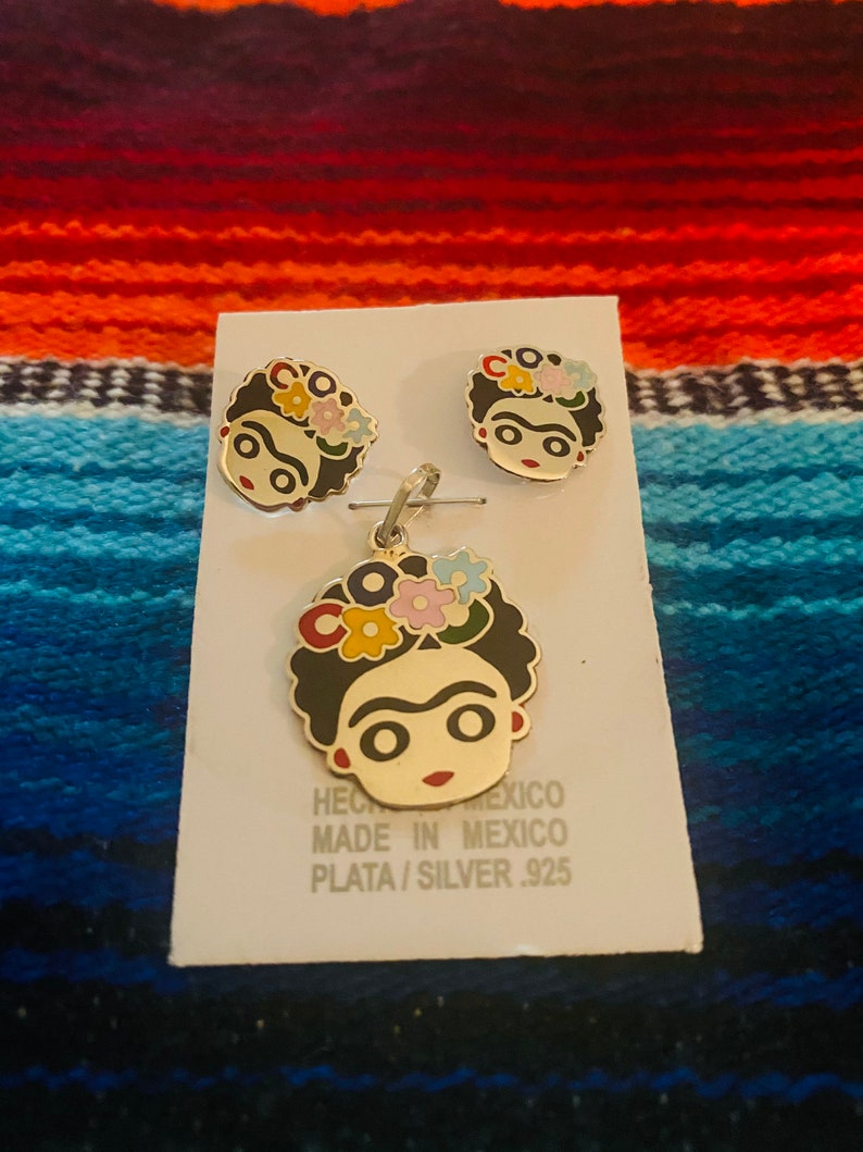 Frida Kahlo stud earrings and necklace set .925 Sterling Silver .925