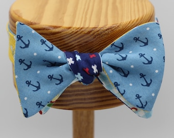 LAST ONE All Cotton Fun Four Sided Self Tie Bow Tie