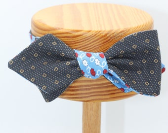 LAST ONE All Cotton Diamond Point Blue Floral Self Tie Bow Tie