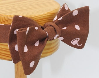All Cotton Chocolate Self Tie Bow Tie with Pink Polka Dots