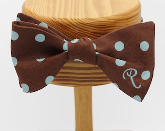 All Cotton Chocolate Self Tie Bow Tie with Blue Polka Dots