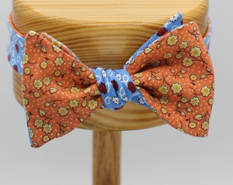 LAST ONE All Cotton Orange and Blue Floral Self Tie Bow Tie