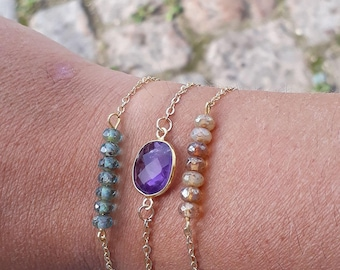 Choose bracelets beads Czech glass and Amethyst, gold plated findings