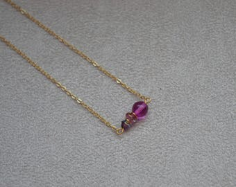 """Necklace """"Ally"""" gold plated Indian, Czech glass, Swarovski Crystal (matching earrings)"""