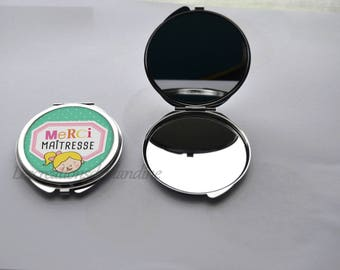 """""""thank you gift centerpiece"""" covered with a cabochon double Pocket mirror resin 50mm"""