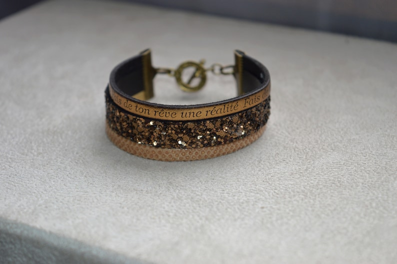 Bracelet 3 leather make your dream a reality brass toogle clasp findings