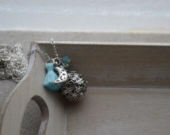 Pregnancy's Bola, blue Swarovski Crystal Pearl