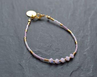 Pale pink swarovski crystal, brass and miyuki beads