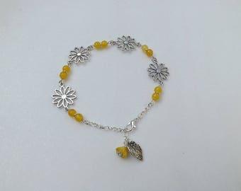 "ankle bracelet ""mirasol"" yellow agate"