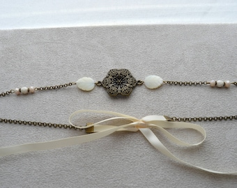 "Headband ""Nelly"" mother of Pearl, Crystal, Czech glass, satin ribbon"