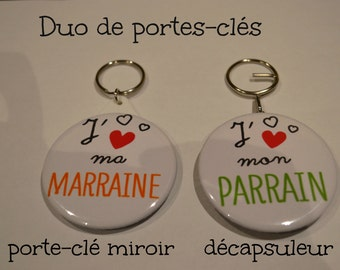 Special keyrings duo I love my godmother and Godfather
