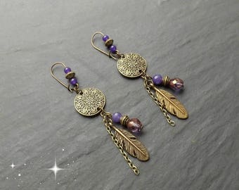 "Earrings ear ""fathia"" Crystal, Amethyst, jade"