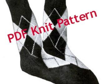Men's Knit Argyle Sock Pattern, Sizes 10 to 12 Stockings Pattern, Vintage 1942, PDF Instant, Digital Download