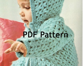 Toddler Popcorn Crochet Hoodie Sweater Pattern, Vintage 1971, Cardigan in 2 sizes, 6 mo 1 yr, PDF Instant, Digital Download