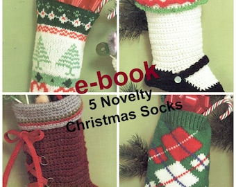 Christmas Stockings Knit/Crochet E-Book, Vintage Christmas Sock Pattern, PDF Instant, Digital Download,