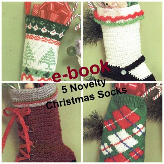 Christmas Stockings Knit Crochet Pattern 5 Patterns E Book Etsy
