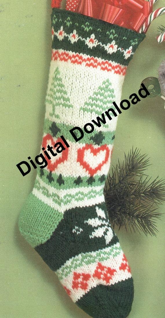 Knit Christmas Stocking Fair Isle Vintage Christmas Sock   Etsy