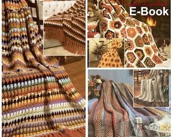 Scrap Yarn Crocheted Afghans Pattern, Granny Square Motif, Easy Beginner Blanket, EBook Vintage Booklet Leaflet Bundle, PDF Digital Download