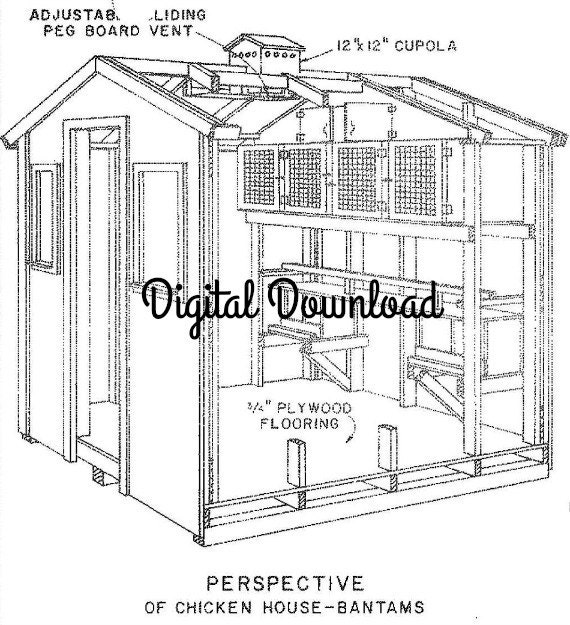 Chicken/Pigeon Coop Blueprints, Hen House, Nest Boxes, Vintage ...