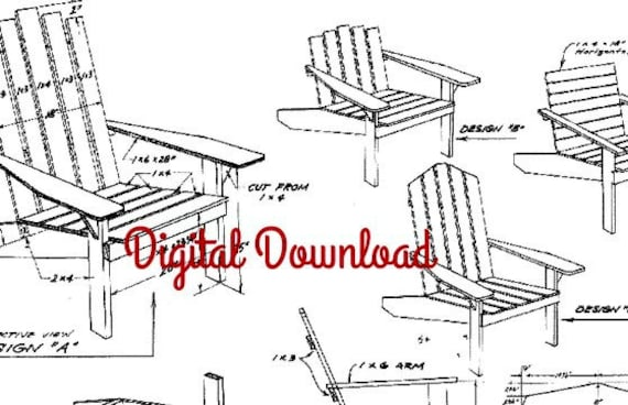 Adirondack chair blueprint vintage woodworking plans patio etsy image 0 malvernweather Image collections