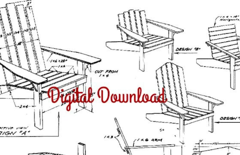 Outstanding Adirondack Chair Blueprint Vintage Woodworking Plans Patio Deck Outdoor Furniture Diy 1960S Plans Instant Pdf Digital Download Download Free Architecture Designs Embacsunscenecom