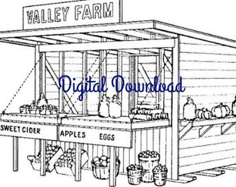 Roadside Fruit Vegetable Farm Stand, Vintage Woodworking Blueprints Plans, 6 x 12, Mobile Home Small Business, PDF Instant, Digital Download