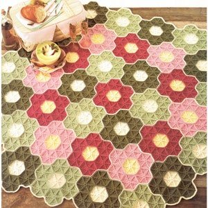 Turtle Shell Hexagonal Rug 1970/'s Retro Crochet Pattern Bedroom Kitchen Living Room No.262 Crochet Pattern PDF Vintage