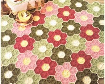 Granny Square Hexagon Afghan, Hippie BoHo Crochet, Classic Motif, Vintage 1980's Pattern, PDF Instant, Digital Download