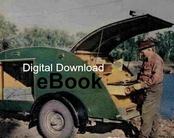 Tear Drop Camper Trailer Blueprint, Vintage 1947 Plans, How to Build, Small Car Motorcycle Trailer, PDF Instant, Digital Download