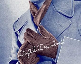 Men's Gloves and Scarf Knit Pattern, War Era Knit Patterns, WWII Military Patterns, Vintage 1940's, PDF Instant,  Digital Download