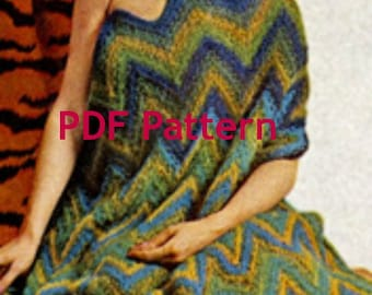 Chevron Knit Afghan Pattern, Vintage 1963, Quick and Easy Knit, PDF Instant, Digital Download