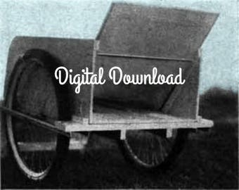 Garden Cart, Utility Cart, Yard Cart, Nursery Cart, Vintage Woodworking Plans, Convertible Wheelbarrow, PDF Instant, Digital Download