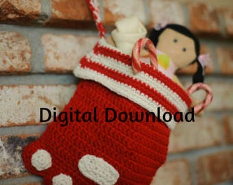 Dog Paw Christmas Stocking Crochet Pattern, Paw Print Sock, Crochet Pet or Cat PDF Pattern, Holiday, Photo Prop, Digital Download,