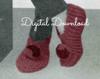 Vintage Knit Slipper Pattern Grammys Childs Womens Mens Size